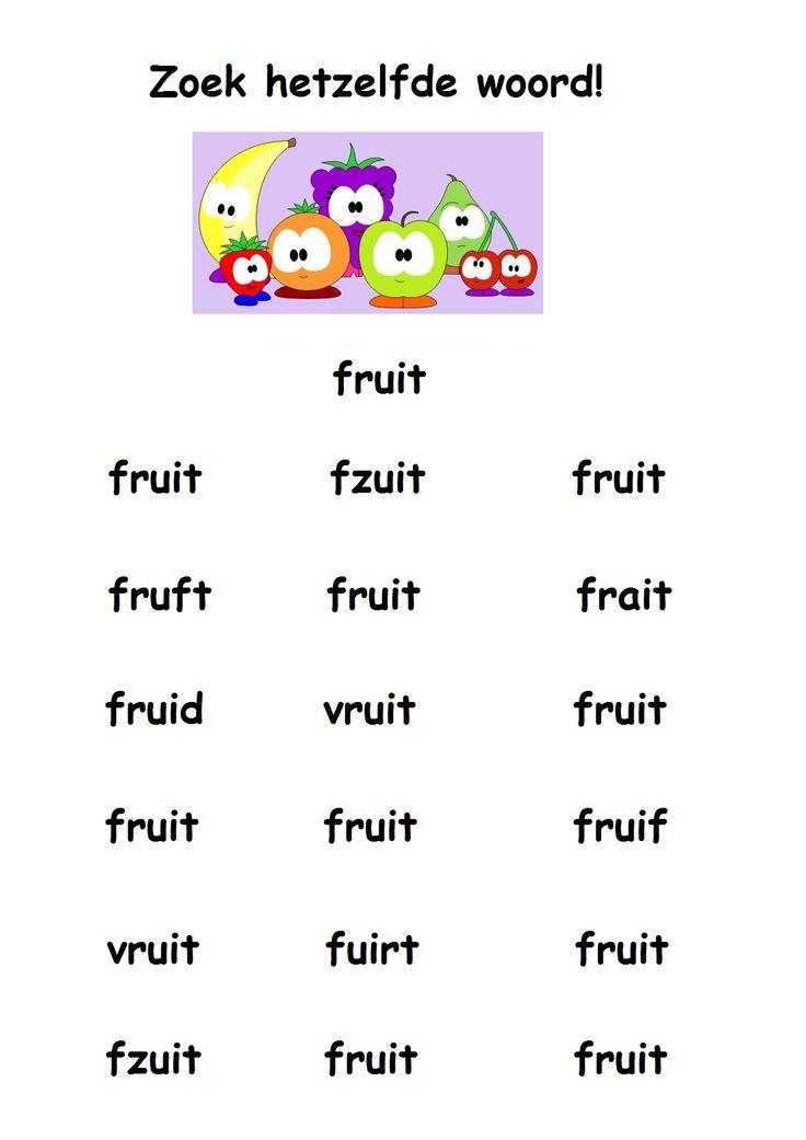 * Zoek hetzelfde woord: fruit!