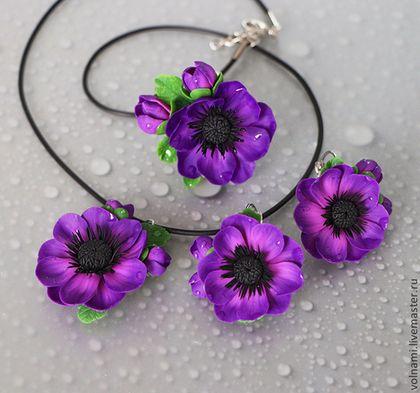 """""""Анемона"""" серьги+ кулон - тёмно-фиолетовый,анемоны,анемон,цветы,цветочный"""