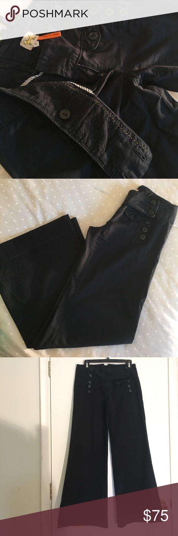 Black Sailor Button Detail Wide-Leg Pant NWOT Black bell-bottom wide leg flare lightweight cotton mix pants with sailor button details and lace-up waistband on back.  98% cotton 2% spandex Pants