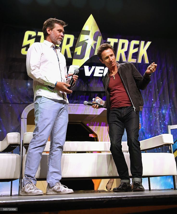 Connor Trinneer (L) watches Dominic Keating dance during the 'A Look at…
