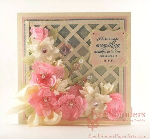@Spellbinders Spring Blog Hop card I created using Bauble Blossoms One, Labels Sixteen and Foliage with @Marsha Grove Papercraft, Inc. sentiment stamp
