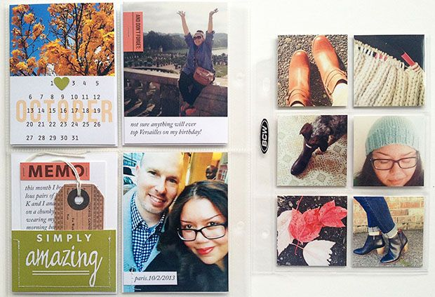 Love the clean lines...photos not bordered; typed journaling; small insert for extra pics.