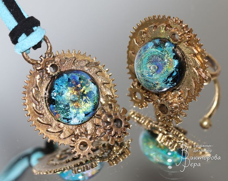 "Set ""cycles of time."" Bronze Handmade^ Artisan lampwork handmade."