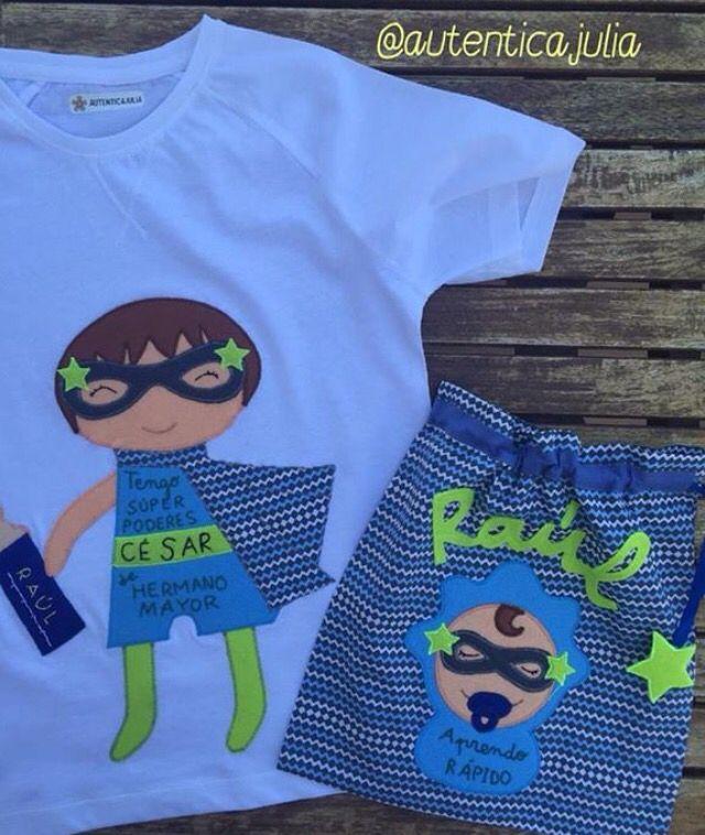 ⚡️NUEVO DISEÑO⚡️ Y aquí está la versión camiseta HERMANO MAYOR... Además acompañada con esta práctica bolsita para el bebé... A César le queda muy poquito para conocer a su hermano Raúl y su Seño Eva quiso hacerle un regalo muy especial para ese momento mágico....
