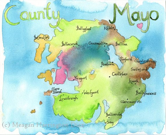Map Art Ireland Map County Mayo Ireland by DustyShamrockStudio, $20.00