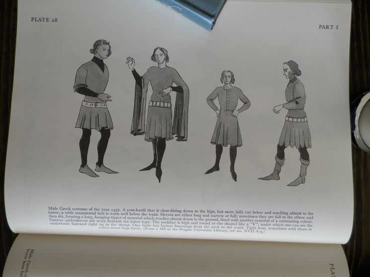 Male Czech costume of the year 1432. A cote-hardi that is close-fitting down to the hips, but more fully cut below and reaching almost to the knees; a wide ornamental belt is worn well below the waist. Sleeves are either long and narrow or full; sometimes they arc full to the elbow and then slit) forming  long, hanging tippet of material which reaches almost down to the ground, lined with another material of a contrasting colour.