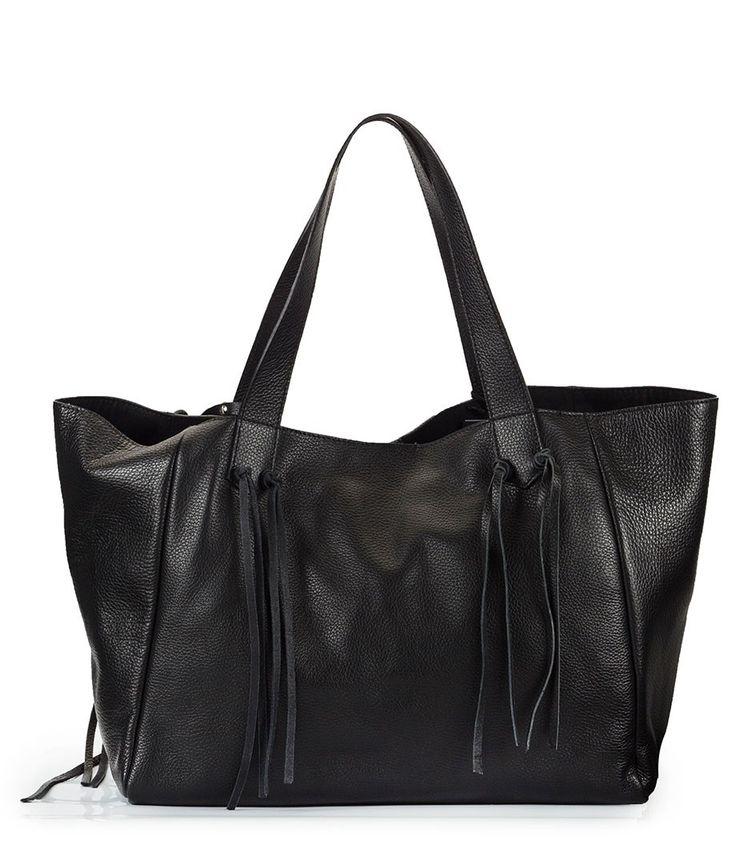 Fratelli Karida Black martellato soft leather fringe large tote bag