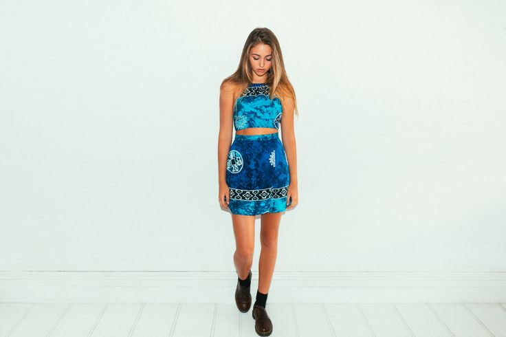 Her Pony Far Out Collection. Blue tie dye batik print festival clothing. Summer style. Backless halter neck and wrap skirt.