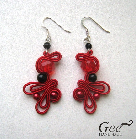 red and black soutache earrings on etsy