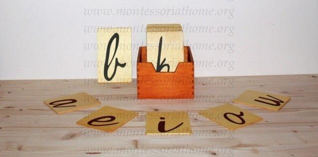 Lettere smerigliate corsivo Montessori.