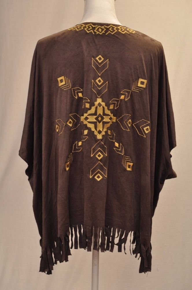Faux Suede M Aztec Top Open Front Poncho Tribal Fringed Wrap Shawl Tassels boho #DoubleZero #Wrap #Casual