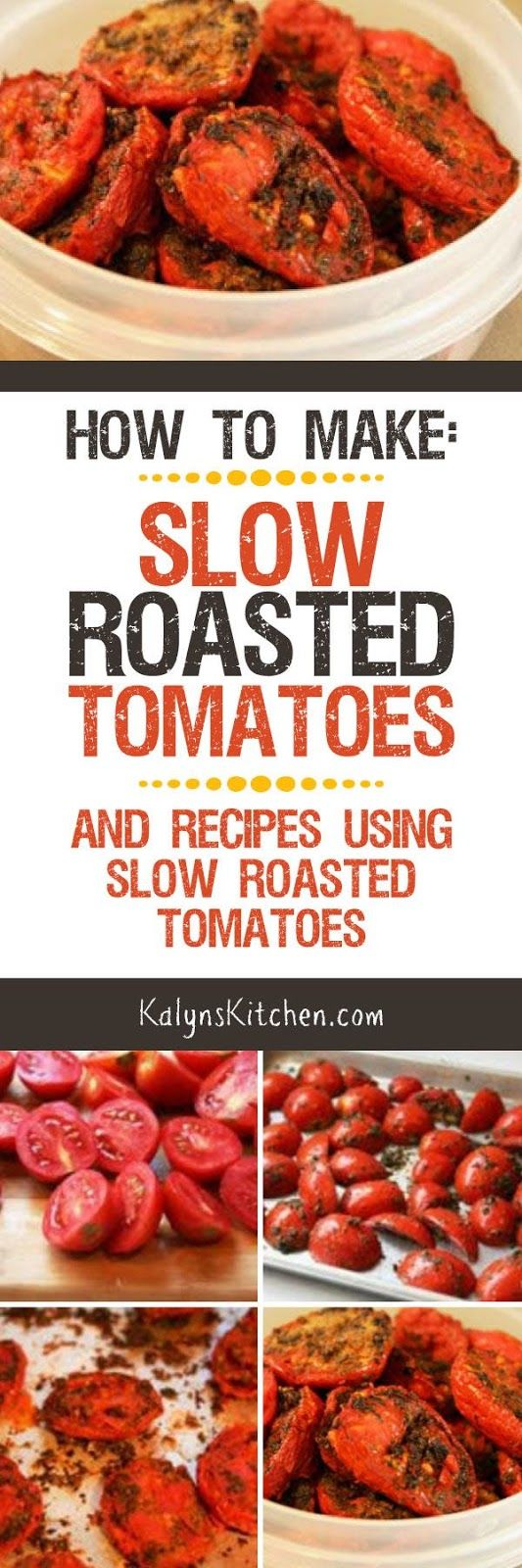 I've been making slow roasted tomatoes for oven ten years now and I think they're one of the best things about summer! Here's How to Make Slow Roasted Tomatoes and Recipes Using Slow Roasted Tomatoes; enjoy! [found on KalynsKitchen.com]