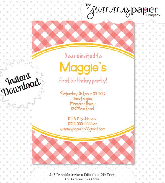 Editable Summer Gingham Party Invitation Instant by yummypaper