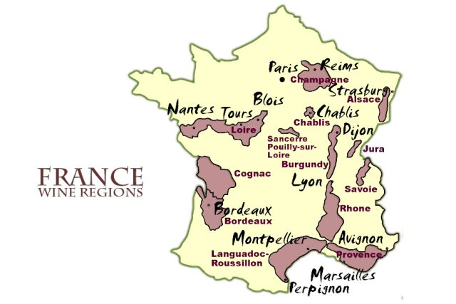 Map of the wine regions of France, information on wine tasting, and the best times to visit the French wine regions