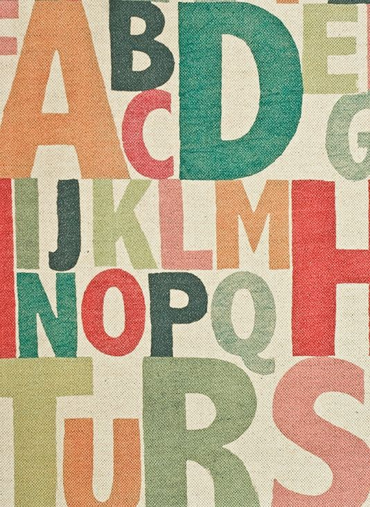 Rainbow Letters Upholstery Fabric Corn linen fabric with multicoloured alphabet print. Suitable for Domestic Upholstery, Curtains and Soft Furnishings.