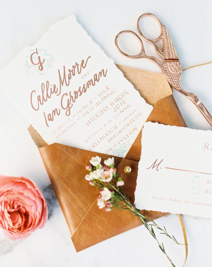 Custom calligraphy wedding invitation, leather envelope @jrocro, @loftphoto, Highland Avenue Events