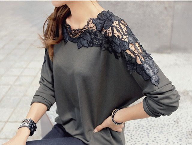 $14.48 2015 new long sleeve lace t shirt fashion bow tie Order here! http://goo.gl/ys1i17