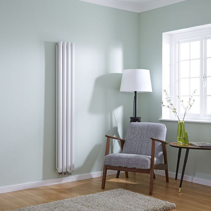 Milano Aruba Flow   White Vertical Double Panel Middle Connection Designer  Radiator 1600mm X 236mm