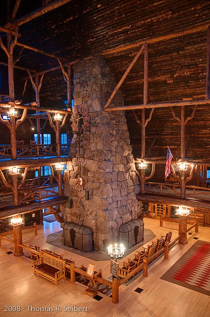 Old Faithful Inn Fireplace - Yellowstone. I had to repin this because that fireplace is so totally awesome in person. You can be reading by yourself on one of the upper floors like a library with all the action below you.