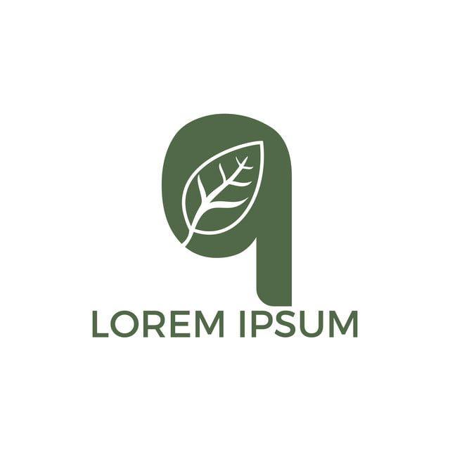 حرف Q مع ورقة شعار قالب ناقلات الأخضر الأولية تصميم شعار شعار Lettering Leaf Logo Logo Templates