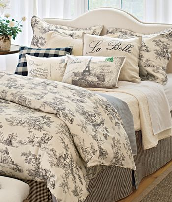 Lenoxdale Toile Bedding Set French Country Theme Pretty Gray And White