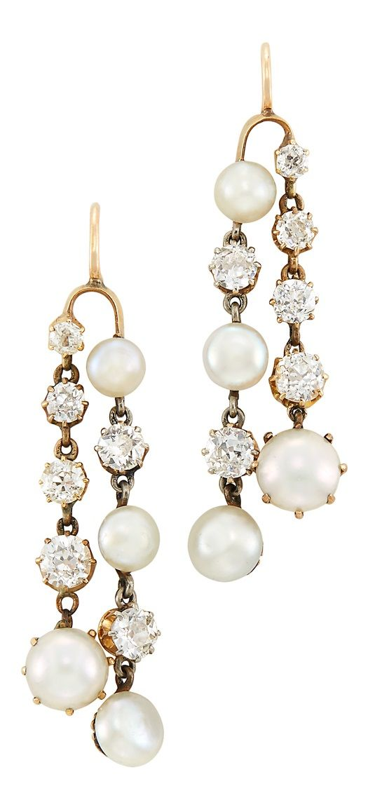 A Pair of Antique Gold, Diamond and Button Pearl Pendant-Earrings, Circa 1905. #antique