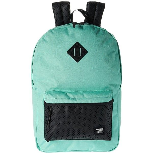 Herschel Supply Co. Heritage (Lucite Green/White/Black Rubber)... ($70) ❤ liked on Polyvore featuring bags, backpacks, green bags, backpack bags, padded bag, green laptop bag and laptop backpack