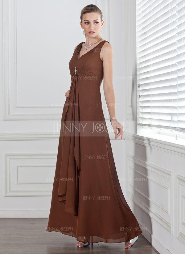 С завышенной талией V-образный Длина по щиколотку шифон Платье Подружки Невесты с Рябь Бисер (007001778)