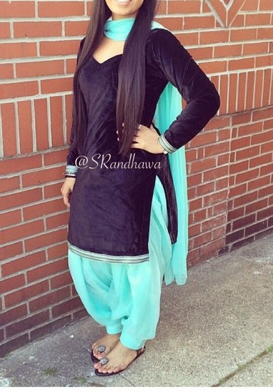 Black velvet simple yet pretty #punjabisuit❤️ black and blue punjabi suit