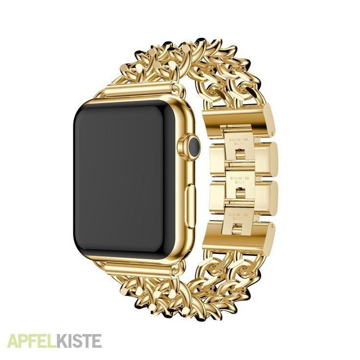 1 x Apple Watch Series 1 / 2 / 3 (38mm) Edelstahl Armband im Ketten Design - Gold