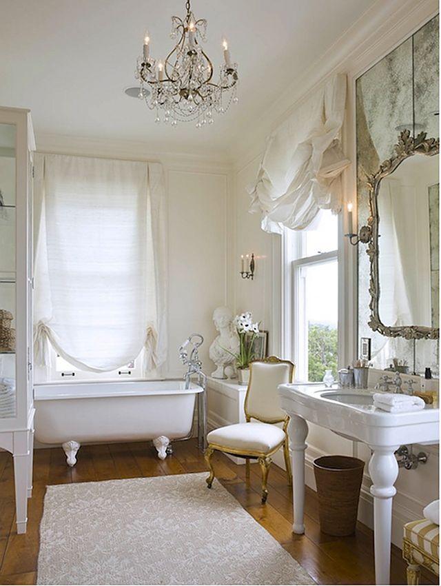 Feminine Bath   Window Treatments, Antique Mirror, Gilt Chair Part 39