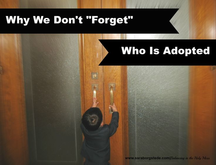 """Some families """"forget"""" which of their children are in the family by birth and which by adoption. We choose to remember. This is why."""