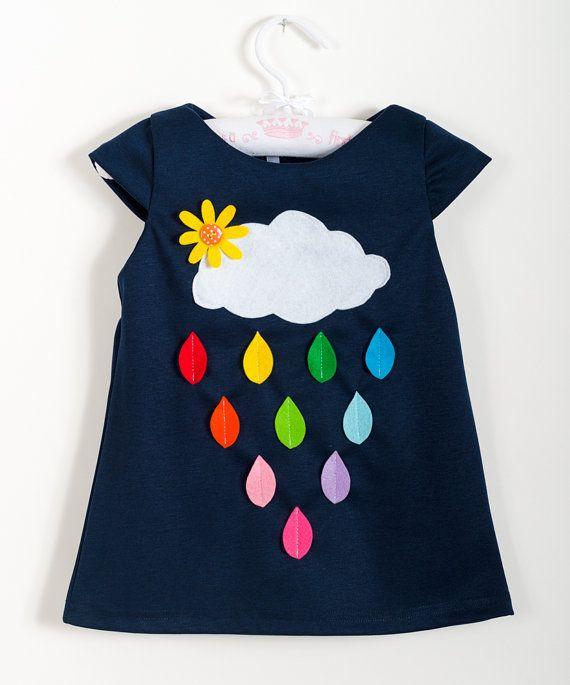 Niño niña vestido, nubes y arco iris de la lluvia, ropa colorida, ropa de primavera, ropa infantil, vestido azul oscuro, apliques de fieltro