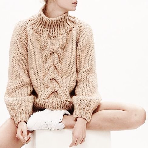 creme colored sweater, cable knit sweater