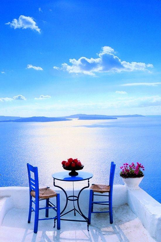 Patio in Santorini, Greece by George Meis.