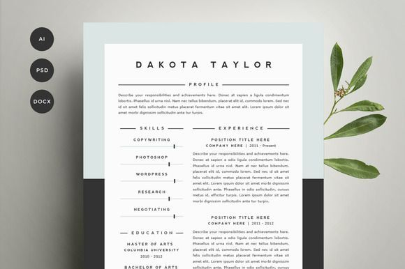 Resume Template 4 Pack   CV Template by Refinery Resume Co. on Creative Market
