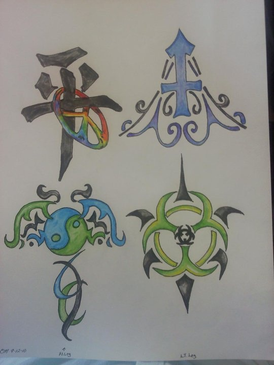 these are my drawings i did to get as tattoos and have gotten the bio hazard and chinese symbol for peace with the rainbow peace symbol done on my legs and just need to get the other two done!