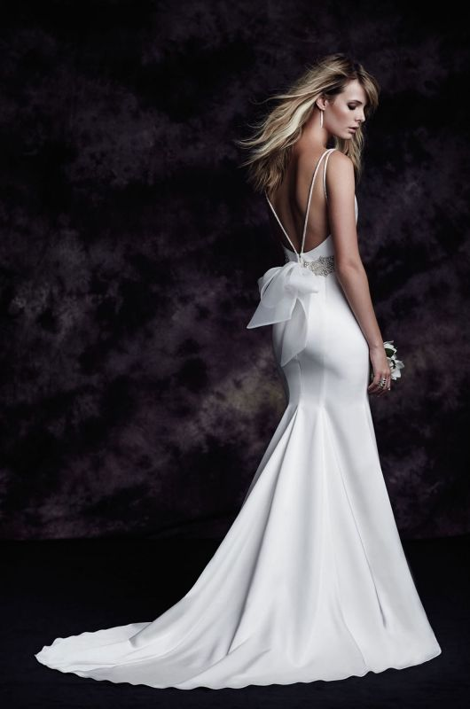Paloma Blanca // Your Dream Bridal Sudbury Ma- Paloma Satin Wedding Dress. Satin bodice with bateau neckline, beaded straps to centre back. Removable beaded belt with organza tie. Fit and flare satin skirt. Chapel Train.http://www.yourdreambridal.com/
