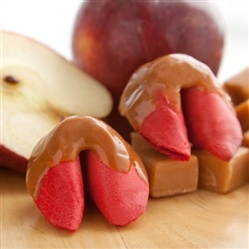A combo made in food heaver! Caramel Apple Flavored Fortune Cookies Dipped in Caramel.
