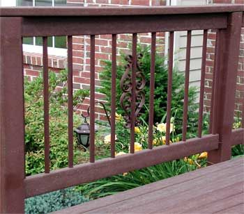 Deck railings hanging lamps and flower beds on pinterest