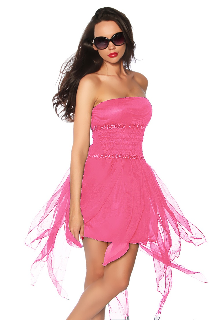 Da kommen Urlaubsgefühle auf! Zauberhaftes Bandeau-Mini-Kleid mit zipfeligen Abschlüssen und zwei Lagen Unterröcken. Im Bereich der Taille ist ein elastischer Gummizugbund eingearbeitet. Ein duftiges Outfit für unvergessliche Momente!
