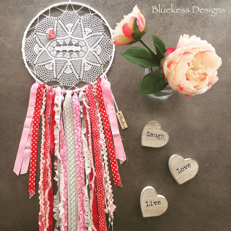 Romantic Boho Upcycled Vintage Dream Catcher in Pinks and Reds by BluekessDesigns on Etsy