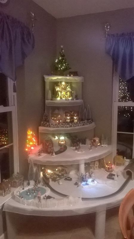 We created a corner/vertical display for our Christmas village