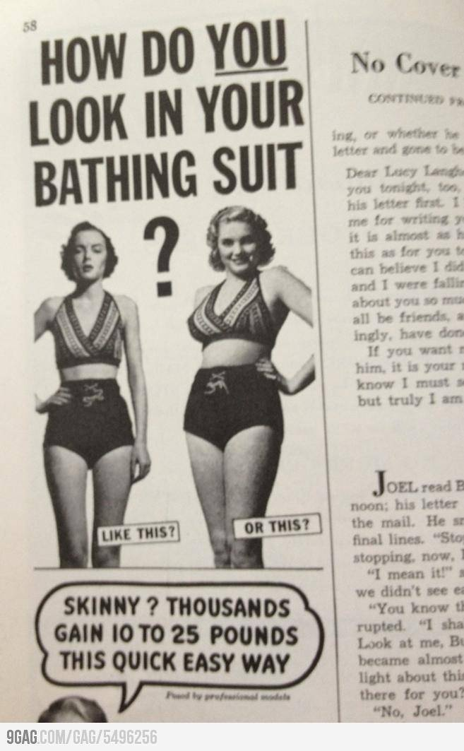 """This is why our definition of """"beauty"""" now is so ridiculous ,Magazine from the 1950s"""