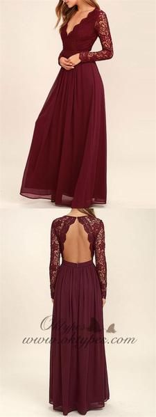 A-line Burgundy Chiffon Long Sleeves Lace Bridesmaid Dresses, TYP1231 A-line Burgundy Chiffon Long Sleeves Lace Bridesmaid Dresses, TYP1231