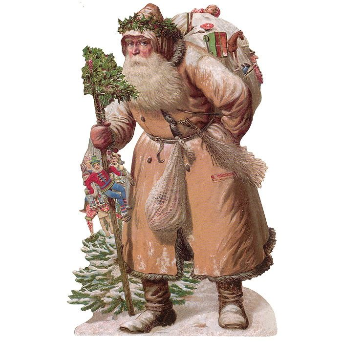 Large Brown Coat Victorian Santa Scrap ~ Germany ~ New for 2015:
