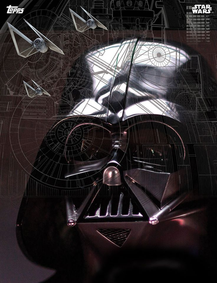 This card features the man in black himself, along with the new TIE Striker fighters and the outline of the Death Star (Topps)