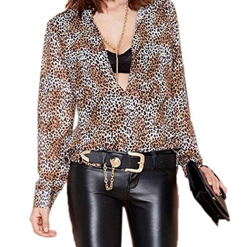 FINEJO Womens Long Sleeve Sexy Leopard Print Tops Casual Blouse