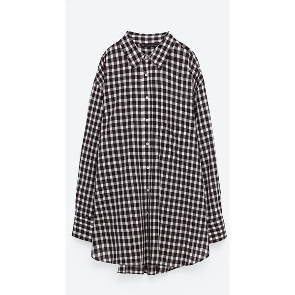 OVERSIZED CHECK SHIRT - View all-TOPS-WOMAN | ZARA United States (310 BRL) ❤ liked on Polyvore featuring tops, dresses, shirts, zara, checkered top, check pattern shirt, oversized tops, checkered shirt and shirt top