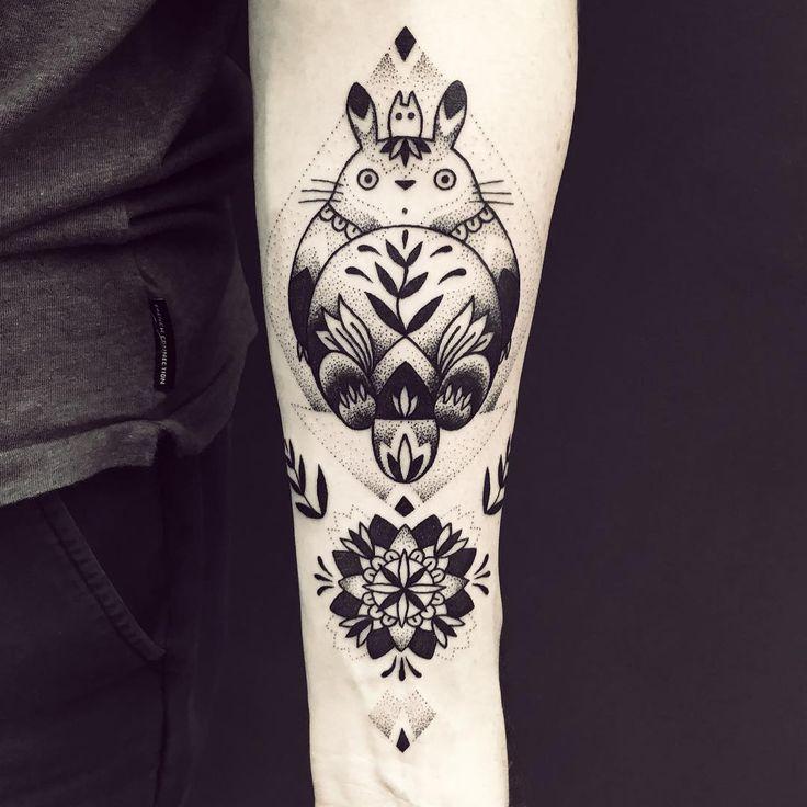 Awesome Totoro blackwork tattoo.